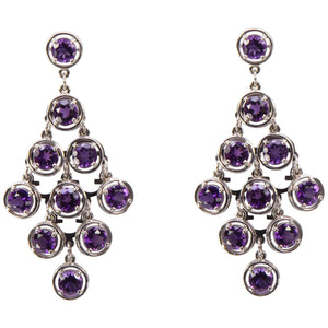 Amethyst Chandelier Gold Statement Earrings