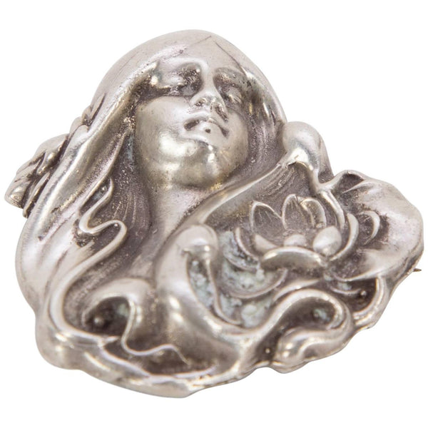 Art Nouveau Antique Sterling Silver Gibson Girl Statement Brooch Pin