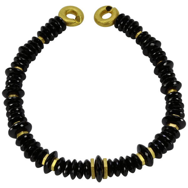 Amazing Black Spinel Facet Bead Gilded Silver Statement Necklace