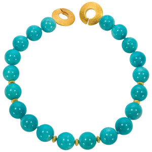Large Blue Amazonite Gemstone Statement Necklace