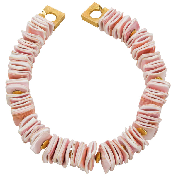 Blush Pink Square Conch Shell Necklace