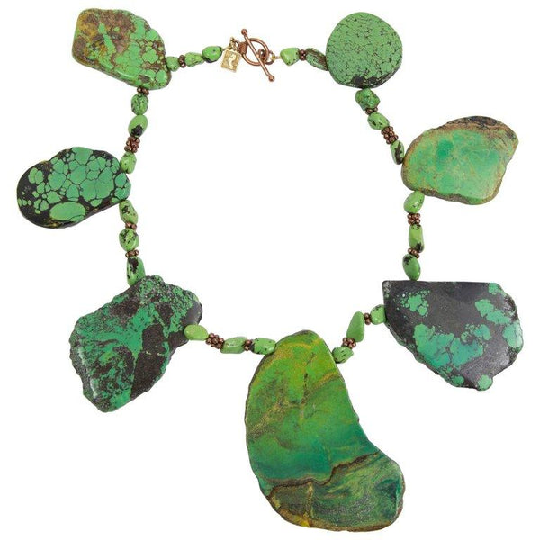 Natural Freeform Turquoise Slice and Copper Statement Necklace