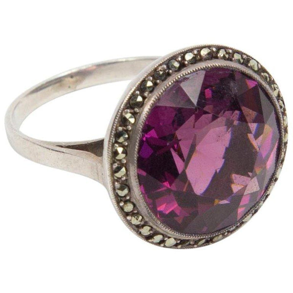 Beautiful Art Deco Faux Amethyst Statement Ring