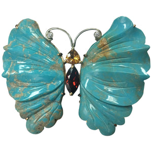 Coach House Beautiful Natural Turquoise Gold Butterfly Brooch Pin