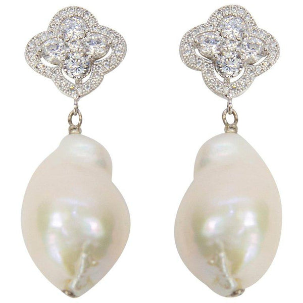 Pearl and Faux Diamond Drop Sterling Silver Statement Earrings