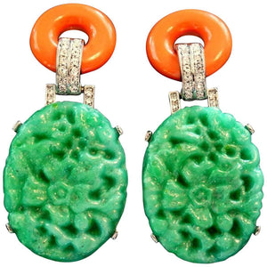 Signed Kenneth Lane KJL Carved Faux Jade and Coral Earrings