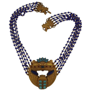 Askew London 'Egyptian Revival' Sphinx and Scarab Statement Necklace