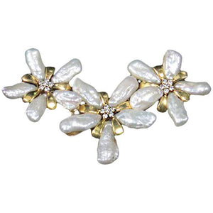 Modernist Freeform Pearl Diamond Yellow Gold Petals Pendant Enhancer