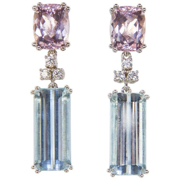 18.66 Carat Aquamarine 6.96 Carat Morganite and Diamond Gold Drop Earrings