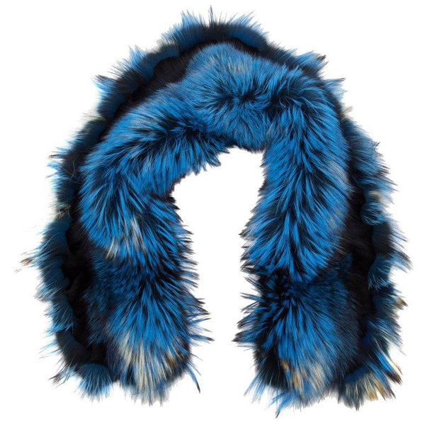 Luxurious Oversized Blue Racoon and Fox White Fringe Fur Statement Stole