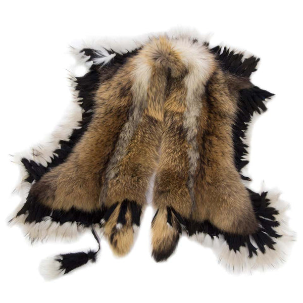 Luxurious Oversized Fox and Finn Racoon Fringe Fur Statement Stole Wrap