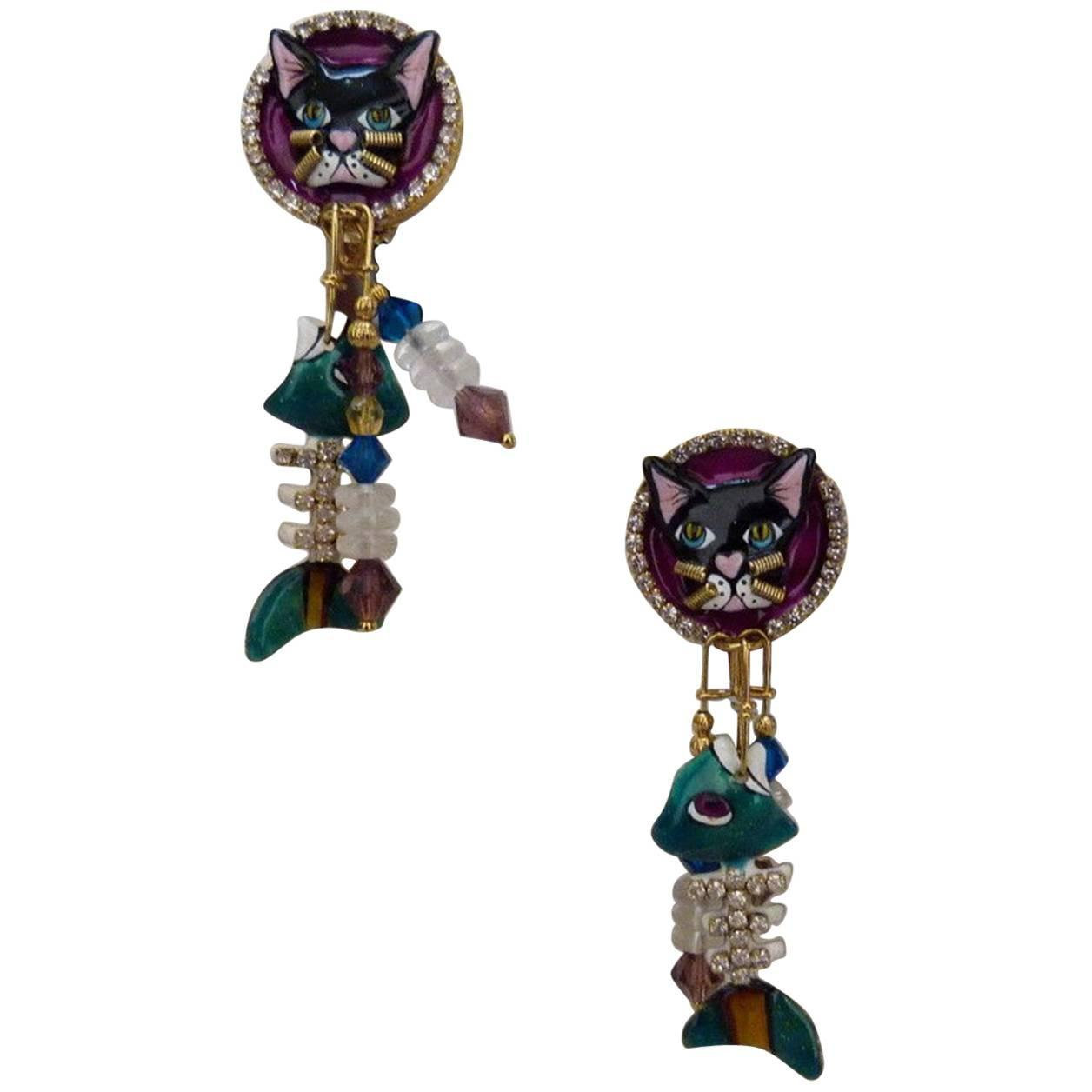3ed590568 Lunch at the Ritz Cajun Catfish Enamel Crystal Earrings on Menu Card USA
