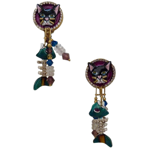 Lunch at the Ritz Cajun Catfish Enamel Crystal Earrings on Menu Card USA