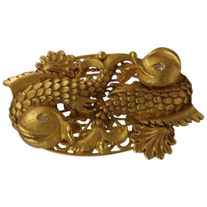 Signed Askew London Double Fish Statement Brooch Pin