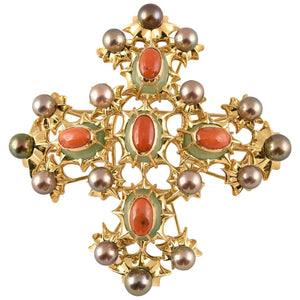 Outstanding Tony Duquette Chrysoprase, Coral and Black Pearl Gold Brooch Pin