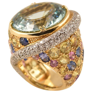 Amazing Tony Duquette Aquamarine, Multi-Color Sapphire Diamond Gold Ring