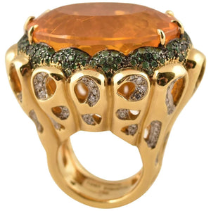 Beautiful Tony Duquette Fire Opal, Tsavorite and Diamond Gold Statement Ring