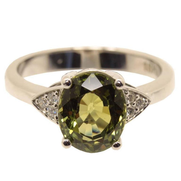 3.21 Carat Tourmaline Diamond Gold Engagement Ring
