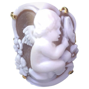 Cupid Cherub Cameo Rose Gold Silver Ring
