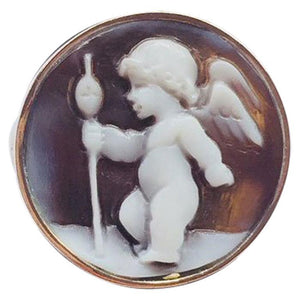 Delightful Winged Cherub with Staff Cameo Rose Gold Silver Ring