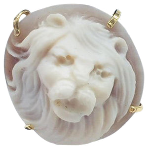 Lion Head Cameo Rose Gold Silver Ring