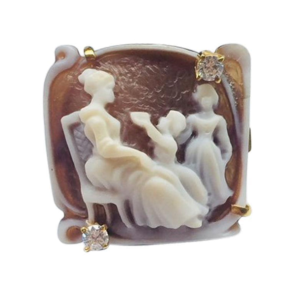 Cherub and Goddess Carved Cameo Rose Gold Sterling Silver  Ring