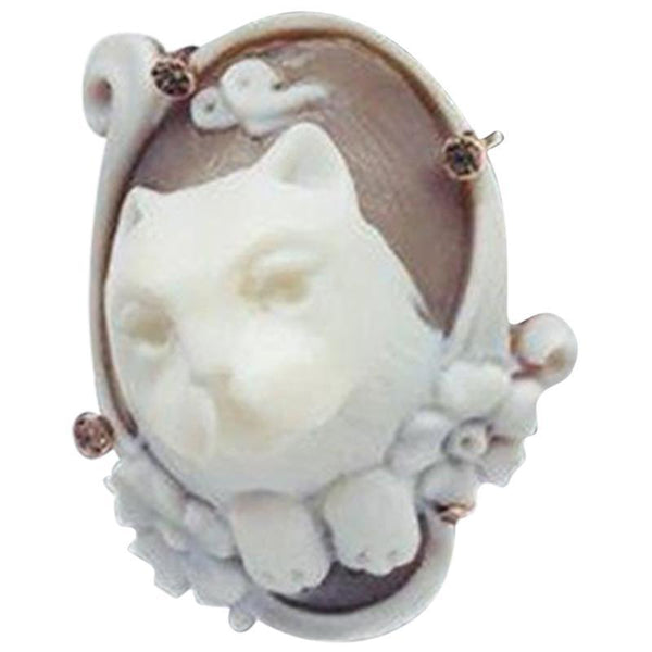 Kitty Cat Kitten Paws Cameo Rose Gold Sterling Silver Statement Ring