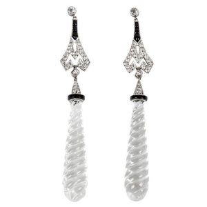 Rock Crystal Diamond Onyx Platinum Runway Pendant Earrings
