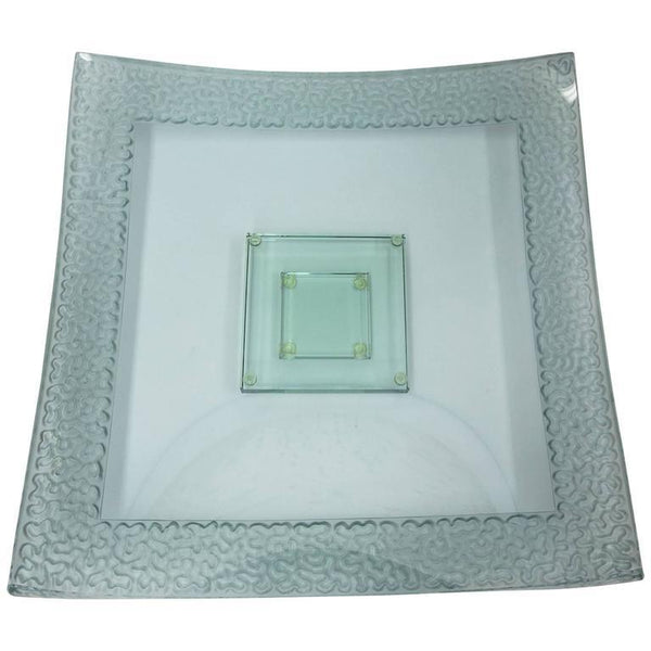 Striking Large Square Art Glass Centerpiece Dish