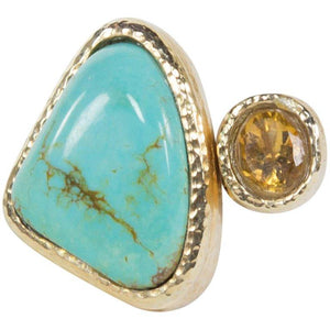 Outstanding 45 Carat Turquoise and Citrine Gilt Sterling Silver Statement Ring