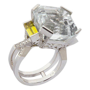 27.06 Carat Asscher White Topaz Diamond Gold Engagement Ring