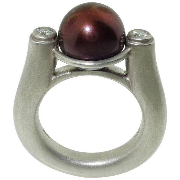 Beautiful Chocolate Fresh Water Pearl and Diamond Ring