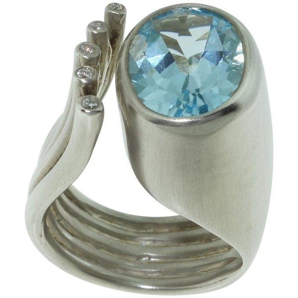 6.20 Carat Sky Blue Topaz Ring