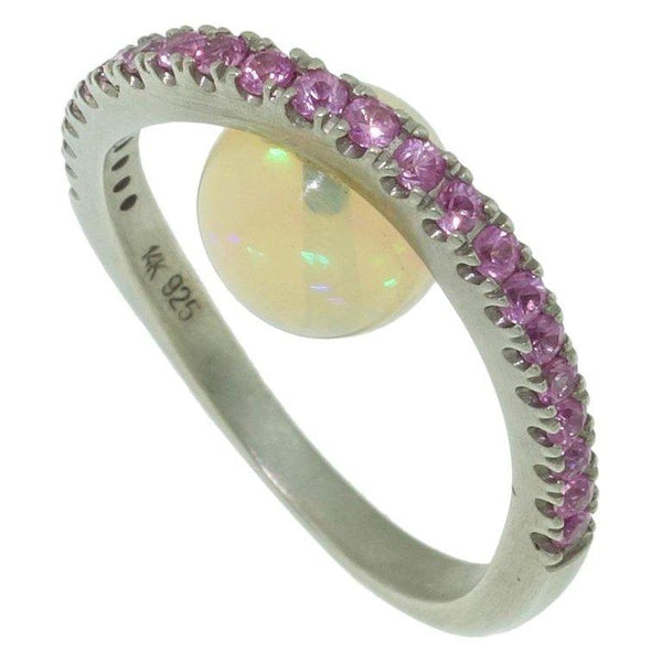 2.88 Carat Opal and Pink Sapphire Ring