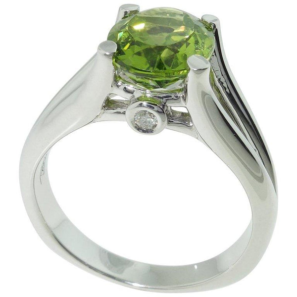 3.01 Carat Peridot and Diamond Solitaire Engagement Ring
