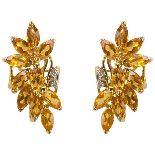 Honey Topaz Spray and Diamond Gold Stud Earrings