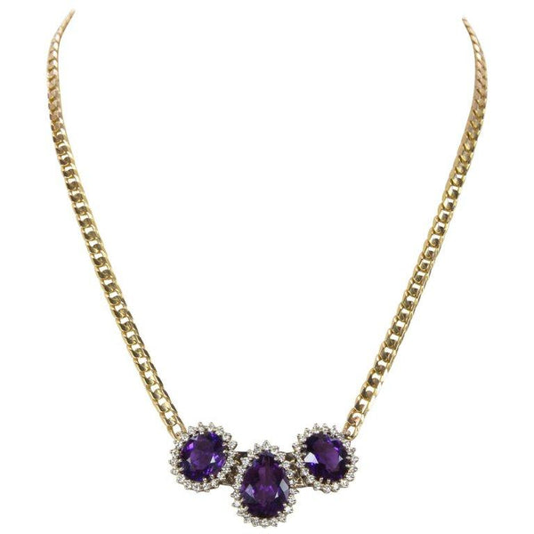 18.15 Carat Amethyst and Diamond Gold Necklace