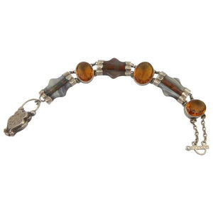 Exquisite Antique Victorian Scottish Agate Citrine Silver Pebble Bracelet