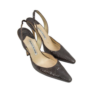 Manolo Blahnik Snake Skin High Heel Shoes Size 39.5