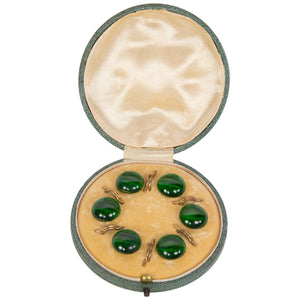 Art Deco Set of Malachite Shirt or Blouse Studs in Original Box