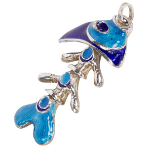 Cloisonne Enamel Sterling Silver Articulated Fish Pendant Necklace