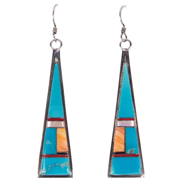 Turquoise Inlay Sterling Silver Dangle Earrings