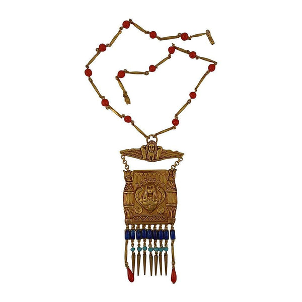 Askew London Egyptian Revival Cleopatra Pendant Runway Necklace
