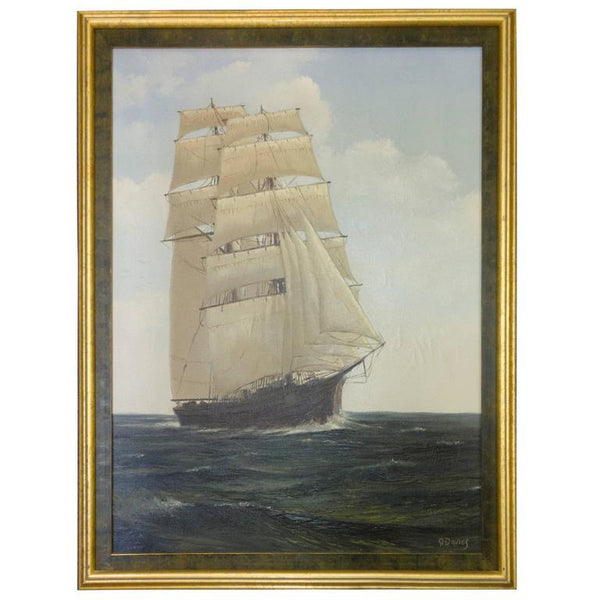 Sailing Clipper Oil on Canvas Painting Signed Ronald Davies
