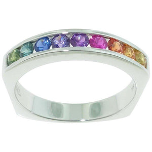 .81 Carat Multi-Color Diamond Cut Rainbow Sapphire Gold Eternity Ring