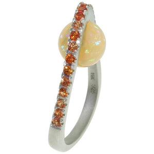 3.10 Carat Opal and Orange Sapphire Ring