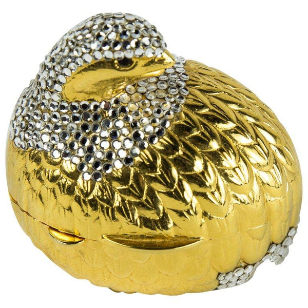 Judith Leiber Faux Diamond Quail Bird Pill Box