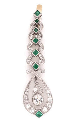 Art Deco Diamond and Emerald Platinum Dangle Earrings Estate Fine Jewelry