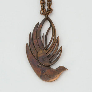 Mid Century Modern signed Rebajes Dove Bird Copper Pendant Chain Necklace