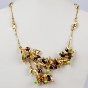 Estate Dynamic Leaves Vine Berry Gold Plate Sterling Silver Modernist Necklace